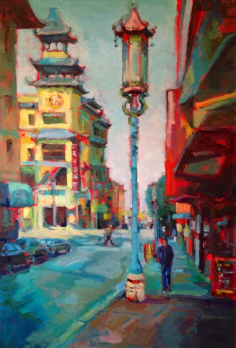 """No Parking in Chinatown, 24"""" x 36"""" oil and acrylic on museum wrapped canvas"""