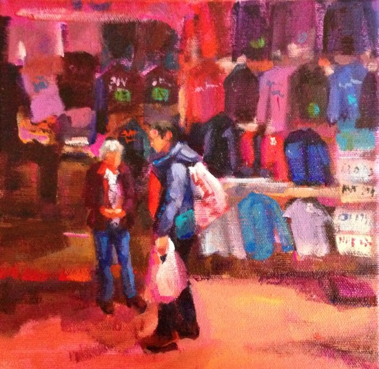"""Chinatown Red, 8"""" x 8"""" acrylic on museum wrapped canvas"""
