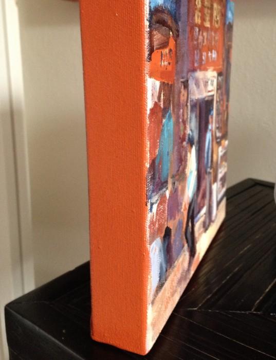 Edges of paintings in Cadmium red