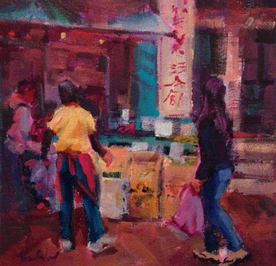 """Chinatown Green, 8"""" x 8"""", acrylic on museum wrapped canvas"""
