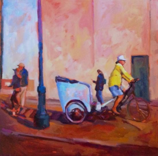"Pedicab Pier 24, Oil on canvas, 36"" x 36"""