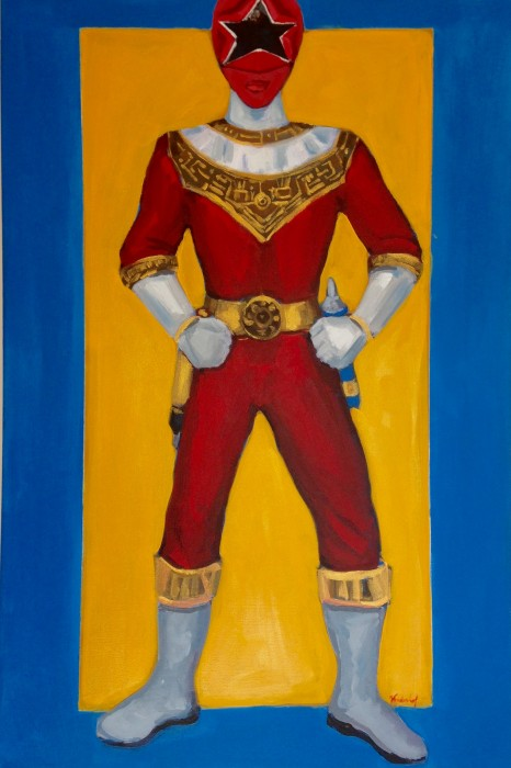 """Zeo Red Power Ranger 24"""" x 36"""" acrylic on gallery wrapped canvas"""