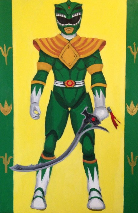 """Green Power Ranger 24"""" x 36"""" acrylic on gallery wrapped canvas"""