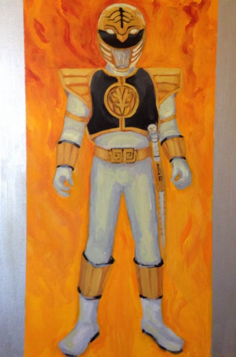 """White Power Ranger 24"""" X 36"""" acrylic on gallery wrapped canvas"""