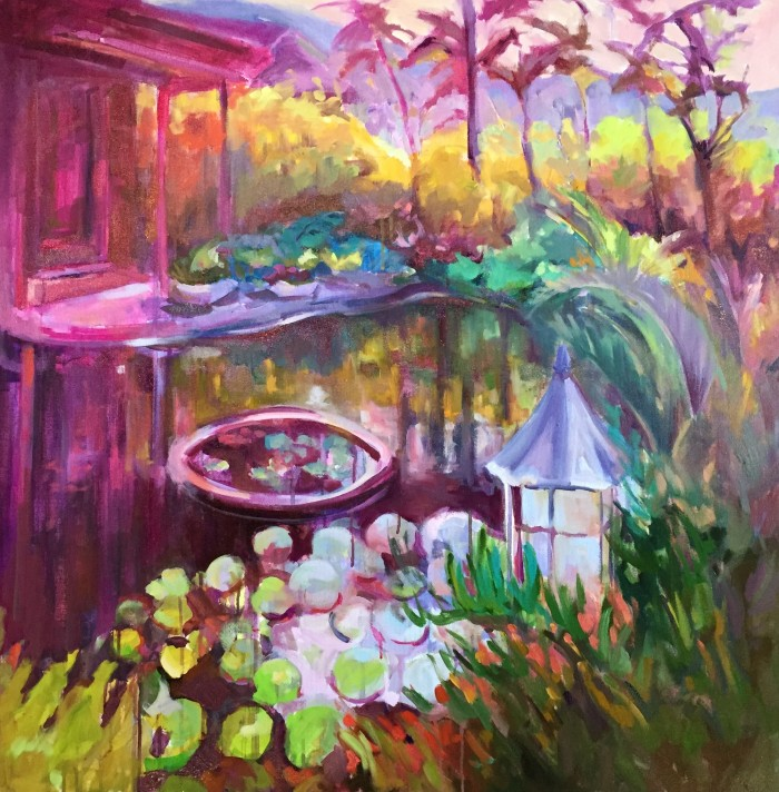 """Pond of Good Fortune, 36"""" x 36"""" acrylic and oil on gallery wrapped canvas"""